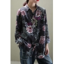 Pretty Fashion Ladies Long Sleeve Lapel Collar Button Up Floral All Over Print Checkered Curved Hem Loose Cotton and Linen Shirt