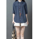 Girls Retro Solid Color Short Sleeve Lapel Neck Button Down Linen Curved Hem Loose Fit Shirt