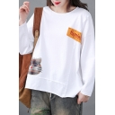 Casual Womens Long Sleeve Round Neck Letter HAPPINESS Cat Embroidered Patchwork Relaxed T Shirt
