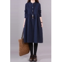 Retro Style Womens Long Sleeve Stand Collar Button Up Solid Color Mid Length Pleated Swing Shirt Dress