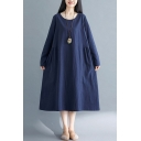 Vintage Solid Color Long Sleeve Round Neck Ruched Cotton and Linen Maxi Oversize T-Shirt Dress for Women