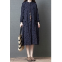 Simple Leisure Roll Up Sleeve Stand Collar Button Down Polka Dot Printed Cotton and Linen Long Oversize Dress for Women