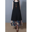 Vintage Summer Ladies Sleeveless Round Neck Floral Printed Panel Cotton and Linen Maxi Oversize Tank Dress