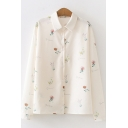 Fancy Girls Long Sleeve Lapel Neck Letter Print All Over Floral Printed Loose Shirt in Apricot