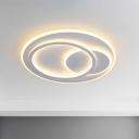 Round Acrylic Flushmount Lighting Minimalist LED White Flush Mounted Lamp in Warm/White Light