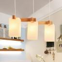 White Glass Cuboid Cluster Pendant Light Minimalist 3 Lights Wood Hanging Ceiling Lamp