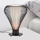 Black Teardrop Cage Study Lamp Contemporary 1-Head Metal Reading Book Light with Conical Frosted Glass Shade