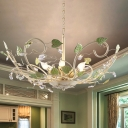 Iron White Ceiling Pendant Open Bulb 6 Heads Korean Garden Hanging Chandelier with Crystal Accent