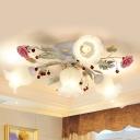 Flower Dining Room Semi Flush Light Korean Garden White Glass 4/6/9 Bulbs Pink Flush Mount Lamp