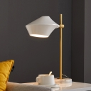 Rotatable Geometric Metal Table Light Nordic 1 Bulb White Night Lamp with Marble Base for Bedroom