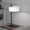 Metal Cylinder Night Lighting Postmodern 1 Head White Nightstand Lamp for Living Room