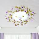 Purple LED Semi Mount Lighting Romantic Pastoral White Glass Bowl Flushmount Ceiling Lamp with Flower Decor, 23