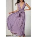 Amazing Ladies Purple Solid Color Sleeveless Deep V-Neck Bow Tie Waist Mesh Maxi Pleated Flowy Dress
