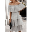 Casual Pretty Ladies Off the Shoulder Ruffled Trim Tiered Polka Dot Printed Maxi Pleated A-Line Dress