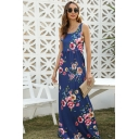 Summer Gorgeous Sleeveless Round Neck All Over Flower Printed Long A-Line Blue Tank Dress for Vacation