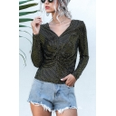 Hot Sale Girls Long Sleeve V-Neck Sequined Ruched Slim Fit Tee for Nightclub