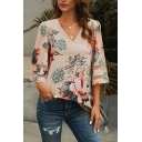 Trendy Womens Bell Sleeve V-Neck Sheer Mesh Patched Relaxed Fit Blouse Top in Apricot