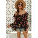 Fancy Girls Bell Sleeve Off the Shoulder Ruffled Trim All Over Flower Print Relaxed Blouse Top in Black