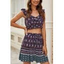 Stylish Ladies Sleeveless V-Neck Ruffled Floral Allover Pattern Fitted Crop Top & Short Pleated Skirt