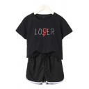 Trendy Girls Short Sleeve Round Neck Letter LOSER LOVER Print Relaxed Fit Tee Top & Drawstring Waist Contrasted Shorts