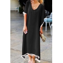 Fashionable Daily Womens Short Sleeve V-Neck Solid Color Fringe Decoration Maxi Oversize Tee Dress