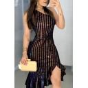 Ladies Stylish Hot Sleeveless One Shoulder Rhinestone Glitter Twist Front Ruffled Trim Slit Front Short Bodycon Dress in Black