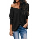 Chic Street Ladies Solid Color Long Sleeve Drop Shoulder Relaxed Fit Knitted Top