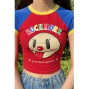 Cute Trendy Short Sleeve Crew Neck Letter ROCKMORE Cartoon Graphic Color Block Slim Fit Crop Red T-Shirt for Girls