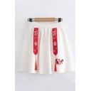 Vintage Girls Elastic Waist Chinese Letter Cartoon Embroidered Tape Tassel Short Pleated A-Line Skirt