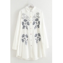 Leisure Popular Womens Short Sleeve Lapel Neck Button Down Floral Embroidered Curved Hem Long Oversize Shirt Dress
