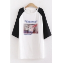 Popular Womens Short Sleeve Round Neck Letter VASANCE THE THINK AOUTME Graphic Colorblock Oversize Long Tee Top