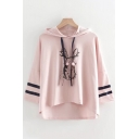 Preppy Girls Long Sleeve Hooded Drawstring Cartoon Rabbit Varsity Stripe Print High Low Relaxed Tee