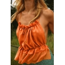 Pretty Ladies Sleeveless Bow Tie Stringy Selvedge Open Back Slim Fit Cami Top in Orange