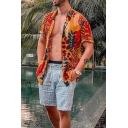 Hawaii Mens Short Sleeve Lapel Neck Button Down Allover Leaf Pattern Relaxed Fit Shirt in Yellow