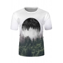Guys Chic Short Sleeve Crew Neck Forest Moon 3D Pattern Fitted T-Shirt in White