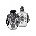 Chic Cool Boys Long Sleeve Drawstring Dragon Floral Printed Pouch Pocket Loose Hoodie
