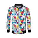 Stylish Unique Mens Long Sleeve Stand Collar Zip Up Colorful Geometric 3D Print Relaxed Baseball Jacket
