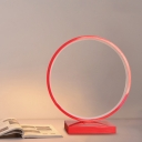 Red/Pink Circle Ring Desk Light Minimalist Aluminum Plug In LED Night Table Lamp in White/Warm Light