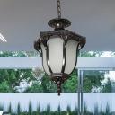 Acorn Hallway Pendant Lighting Farmhouse White Glass 1-Light Black/Brass Finish Ceiling Hang Fixture