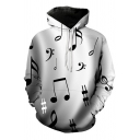 Cool Creative Mens Long Sleeve Drawstring Music Note All Over Print Loose Black Hoodie with Pocket