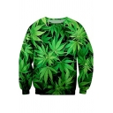 Fashionable Creative Mens Long Sleeve Crew Neck 3D Leaf Allover Pattern Loose Fit Pullover Sweatshirt in Green