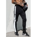 Muscle Mens Drawstring Waist Logo Printed Contrasted Long Length Relaxed Trousers