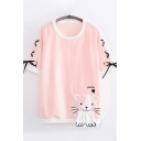 Kawaii Girls Short Sleeve Round Neck Lace Up Cat Embroidery Letter SMILE Contrast Piped Relaxed Tee Top