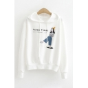 Chic Street Womens Long Sleeve Drawstring Letter HAPPY TIMES Cartoon Character Graphic Relaxed Hoodie
