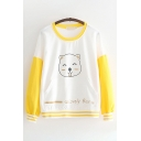 Cute Girls Long Sleeve Round Neck Letter LOVELY BEAR Graphic Striped Color Block Relaxed Fit Pullover Sweatshirt in White