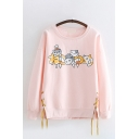Lovely Girls Long Sleeve Round Neck Cat Patterned Lace Up Sides Relaxed Fit Pullover Sweatshirt