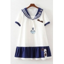 Preppy Girls Short Sleeve Sailor Collar Paw Cat Stripe Printed Patchwork Lace Trim Color Block Short Pleated Swing Sailor Dress with Tie