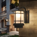 White/Yellow Glass Cuboid Sconce Light Fixture Farmhouse 1 Bulb Hallway Wall Lamp in Black