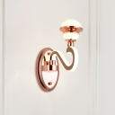 Metallic Dome LED Wall Mounted Lamp Simplicity 1 Head Rose Gold Wall Sconce Light with Shiny Arm