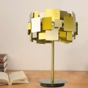 Round Metallic Table Lamp Minimalist 1 Head Gold Finish Night Lighting for Bedroom